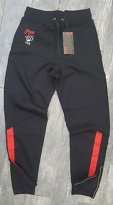 06abfea0 Rtgb Red Tag Brand Usa Flag Teddy Sweatpants In Black Multi 100% Authentic  Large