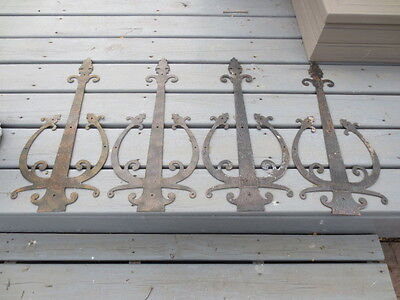 "4 Antique Wrought Cast Iron Door Strap Hinges Medevial LARGE 24"" x 10.5"""