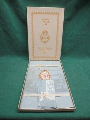 Vtg Blue Damask Tablecloth & 4 Napkins New in Box Roses Flowers