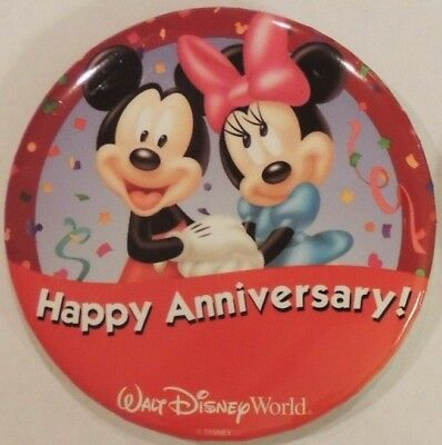 Disney World Happy Anniversary Button Pin (Mickey & Minnie) - RETIRED -