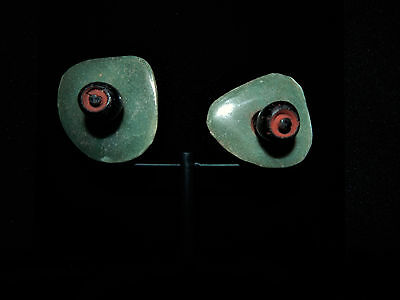 Mayan Warrior Ear Spools, Jade, Obsidian and Cinnabar, Authentic, Pre-Columbian