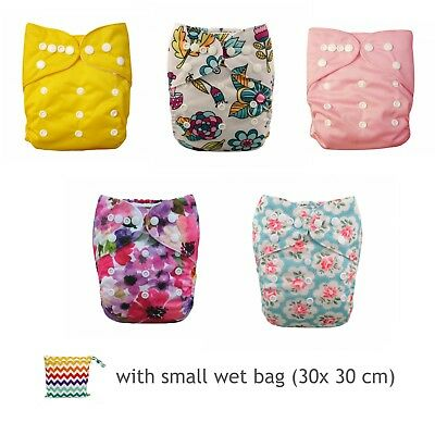cloth nappy pack  - 5 pocket nappies with small wet bag (30x30cm)