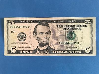 2006 $5 Federal Reserve Note, New York, B-2, Pairs  (#2066)