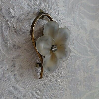 Antique Vintage Retro STUNNING Pin Frosted Glass Flower Rhinestone