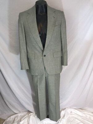 Vtg Mens Hickey Freeman Suit Raleighs Washington Tailored Thinlyte Grey Grid