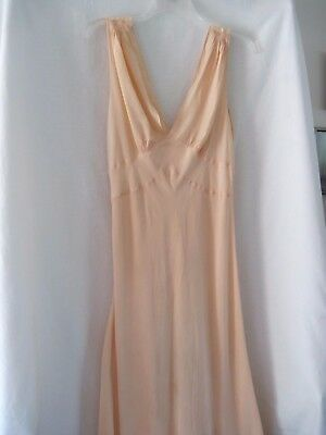 Vintage Peach Long Nightgown Bias Cut ? Silk Taffeta Unbranded