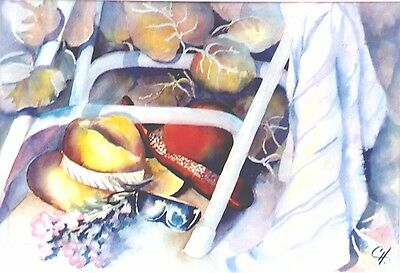 """Original Water Color Painting AFTERNOON DELIGHT Artist Signed,  Framed 30"""" x 24"""""""