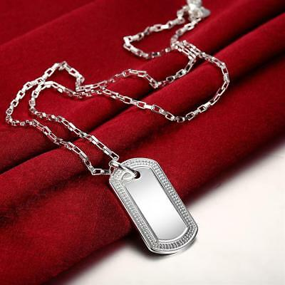 Mens Womens 925 Sterling Silver Dog Tag Military Pendant Chain Necklace #NE162