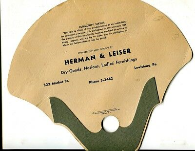 Lewisburg,PA-Herman & Leiser 1940s advertising fan