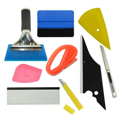 Combo Car Window Tint Wrapping Vinyl Tools Kit Micro Squeegee Scraper Applicator