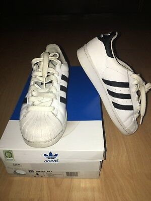 Adidas Originals Superstar Shoes Kids 4 Sneakers White Black PRE-OWNED