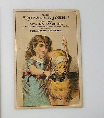 Antique Trade Card Royal St John Sewing Machine Dog Girl New York