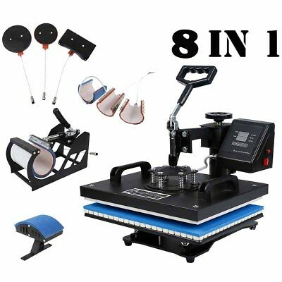 8 in 1 Heat Press Machine Digital Transfer Sublimation T-Shirt W/ Transfer paper