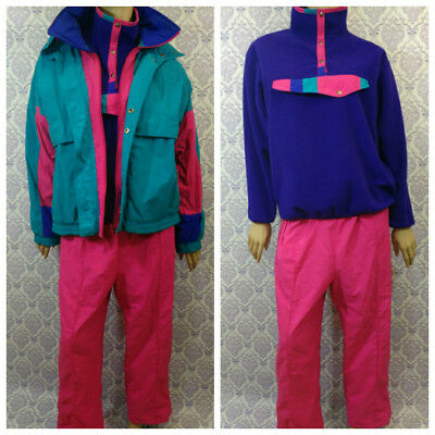 VTG 90s Windbreaker Track Suit Fleece Pullover 3 Piece Set Mens L Womens XL