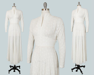 Vintage 1930s 1940s Dress 30s 40s Sheer Embroidered White Chiffon Wedding Gown