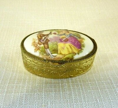 Vintage Porcelain Gold Tone Metal Limoges style Snuff /Pill Box