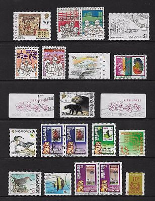 SINGAPORE - mixed collection No.19, incl joined pairs, used