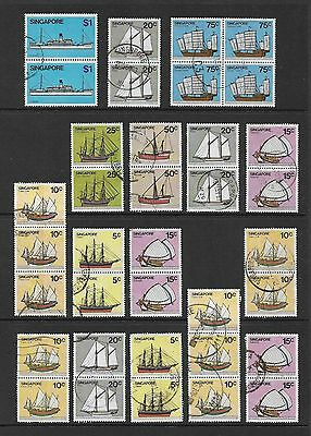 SINGAPORE 1980 Ships, Boats, No.6, joined pairs strips block, used