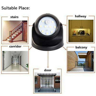 NEW 9LED Motion Sensor Wireless Light-operated Battery Power Security Wall Light