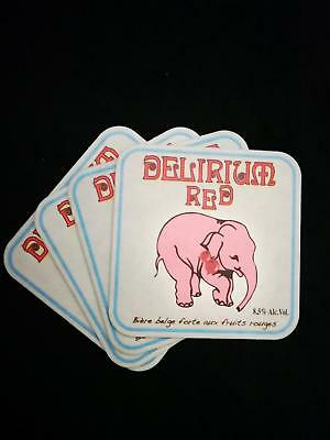 Collectable Delirium Red Square Belgian Beer Mat / Coaster x4