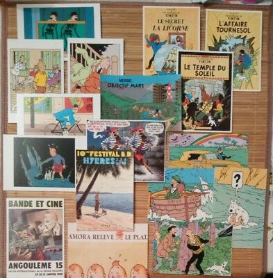 Lot de 17 Cartes postales TINTIN neuves
