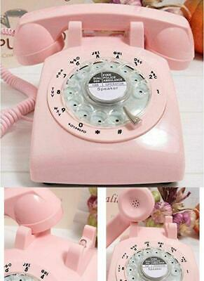 Phone Vintage Pink Retro Rotary Classic Design Dial Bell Desk Home Telephone New