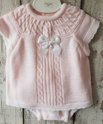 Spanish Style Baby Girl 3 Piece Knitted Jam Pants, Top and Hat Set / Outfit.
