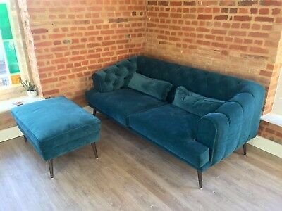 Two Seater Modern Chesterfield Sofa Pouffe In Petrol Velvet By