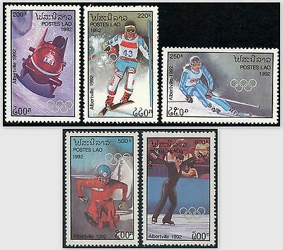LAOS N°1022/1026** Jeux Olympiques Albertville 1991, Winter Olympics #1052-56 NH