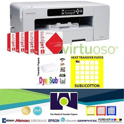 Sawgrass Virtuoso SG800 Printer, CMYK Ink + 100 Sh each Sublipaper + Sublicotton
