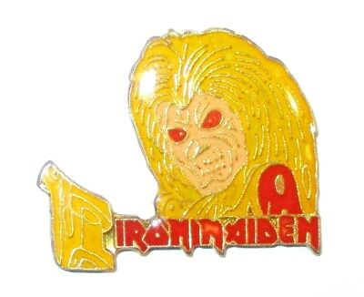 Rare Collectible English Heavy Metal Band Iron Maiden Music Gold & Red Lapel Pin