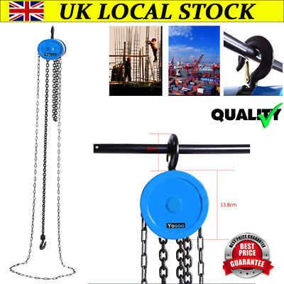 Quality 1 Ton Chain Workshop Lifting Block & Tackle Hoist Heavy Duty Car Load CE