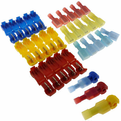 30Pcs T-Taps Male Spade Insulated Wire Terminal Connectors Quick Splice 22-10AWG