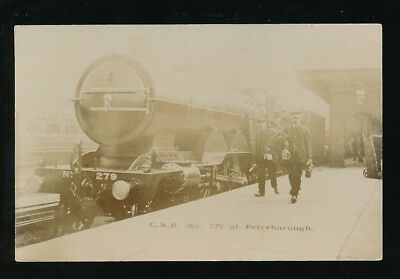 Railway GNR loco 279 at Peterborough Station and crew pre1919 RP PPC by Pouteau