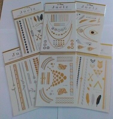 Temporary Tattos in Silver & Gold - Choice of 6 Designs