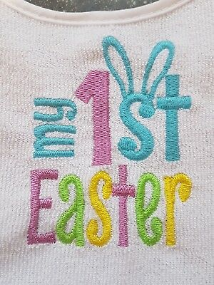 1st Easter Baby Bib Embroidered In Any Colour!! Ideal Gift!! Free Postage!!