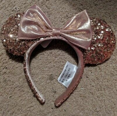Disney Parks ROSE GOLD Minnie mouse Ears Authentic hard to find