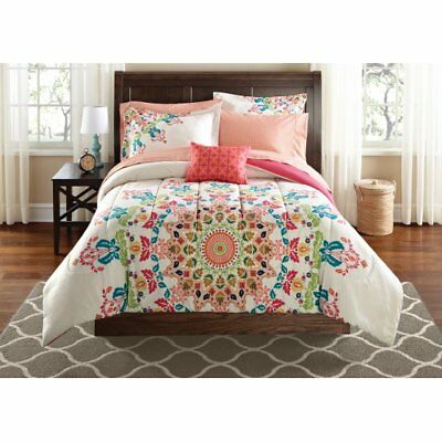 Queen Comforter Sheets Shams Mainstays Medallion Bed In A Bag Multi Colored