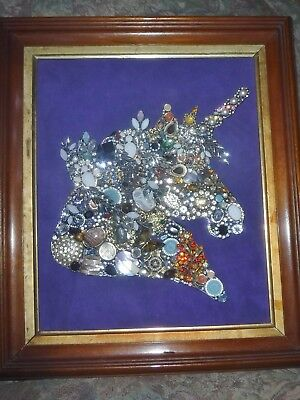 Jewelry Art Crystal Unicorn, Antique Frame, Signed by Artist, one of a kind!