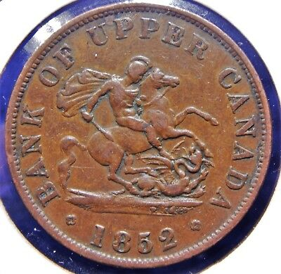 Bank of Upper Canada 1852 1/2 Penny Token High Grade Original Coin PC-5B2 Tn2