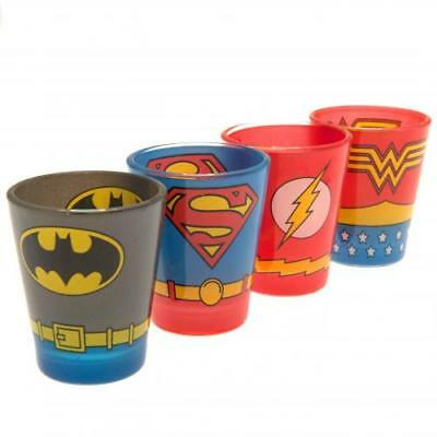 DC Comics 4pk Premium Shot Glass Set (football club souvenirs memorabilia)