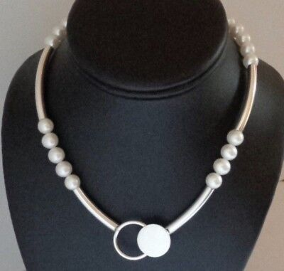 b91abae29 Modernist Betty Cooke Sterling Silver 8mm Pearl Choker Collar Necklace 35  Grams