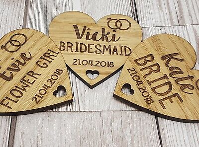 Personalised Wedding Wedding Party Wooden Heart Laser Engraved Coat Hanger Tag