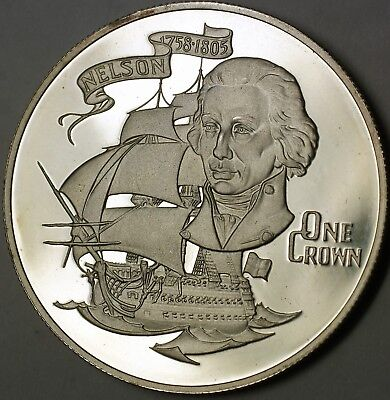 1980 Gibraltar One Silver Crown Proof Coin Admaril Nelson Ship Commemorative