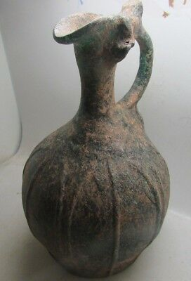 Circa 100-400Ad Very Rare Roman Iridescent Glass Jug With Handle