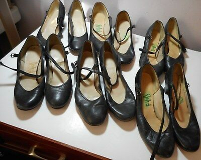 "6 Women Selva Black 1 strap Dance Shoes 2"" heel Formal Mary Janes USED need work"