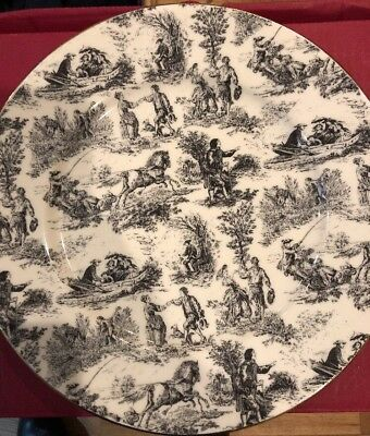 10 Village Life Black by Royale Garden Staffordshire England Plates 10 3/4 Inch
