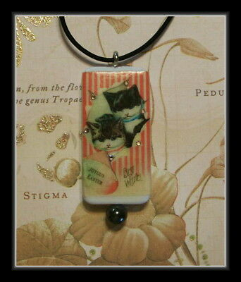 Two Vintage Style Kittens Wishing You A Joyous Easter - Cat Pendant