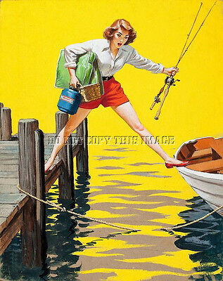 Antique Repro 8X10 Photograph Print  Pretty Woman Getting Ready To Go Fishing #2