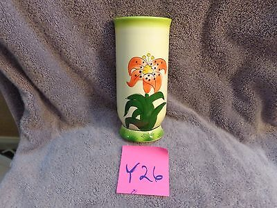 vintage ceramic wall pocket,painted flower design,retro,green,yellow,red,planter